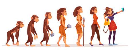 Womens beauty and fashion evolution cartoon vector concept. Female monkey, primate walking upright, stone age hunter in animal skin, modern, dressed fashionable woman making selfie photo illustration Çizim
