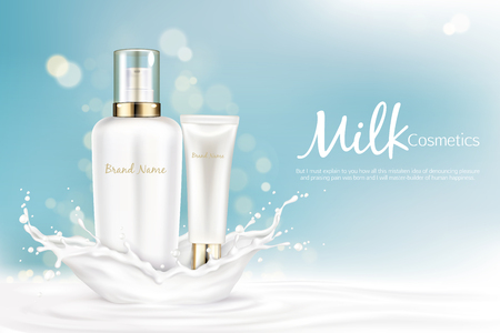 Milk cosmetics bottles mockup with space for name brand stand at milky splash on light blue blurred vector background. White cosmetic product tubes packaging design. Realistic 3d illustration, banner