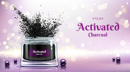 Cosmetics product with activated charcoal 3d realistic vector advertising banner, promo poster. Opened jar with tooth powder, face cream, detox mask, black pearls on glass surface illustration