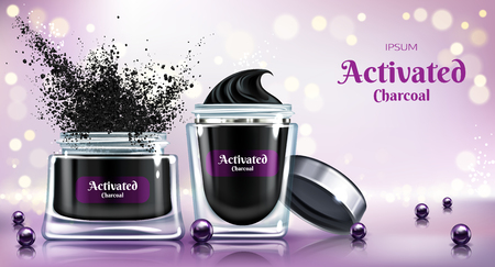 Cosmetic detox powder, skincare cream or face mask with activated charcoal 3d realistic vector advertising banner, promo poster. Opened glass jars, black pearls on reflective surface illustration Stock Photo