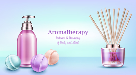 Aromatherapy spa treatment cosmetics. Soap bottle with pump, bath bombs, aroma therapy reed sticks in glass jar with pink liquid, air freshener. Beauty salon banner. Realistic 3d vector illustration