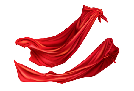 Red cloaks superhero costume with hoods set. Silk flattering capes side view on different positions isolated on white background. Carnival, masquerade dress 3d realistic vector illustration, clip art