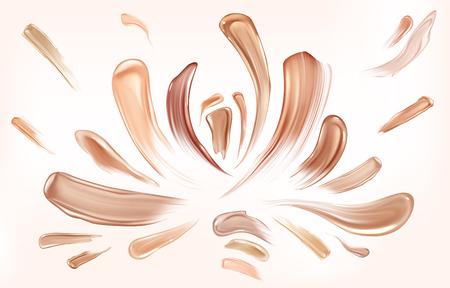 Ensemble de coups de pinceau de frottis de fond de teint pour la peau. La beauté compose l'échantillon de texture de cosmétiques, les éléments de maculage, les échantillons abstraits de formes de traces d'éclaboussures isolés sur fond blanc. Illustration vectorielle 3d réaliste