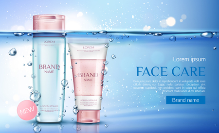 Cosmetic micellar water and scrub bottles mockup, beauty cosmetics products line for face care on transparent aqua background with air bubbles. Tubes packages. Realistic 3d vector illustration, banner  イラスト・ベクター素材