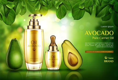 Avocado cosmetics oil. Organic product bottles with pomp and dropper mockup on green background with tree leaves. Natural eco skin care cosmetic, advertising promo template. Realistic 3d vector banner