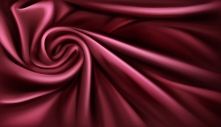 Swirl fabric silk backdrop, luxurious vinous drapery folded textile with soft spiral vortex satin waves, poster, banner or cover design template. swirled cloth knot. 3d vector realistic illustration