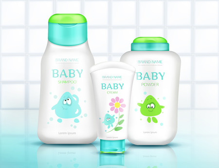 Baby cosmetics bottles with kids design, plastic packages mock up of cream, shampoo, soap, foam, moisturizer with cartoon character on white bathroom tiled background. Realistic 3d vector illustration