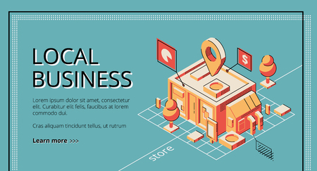 Local business start financing, lending service isometric vector web banner, landing page template. Small shop, store or cafeteria building plan, construction project pop art, retro color illustration