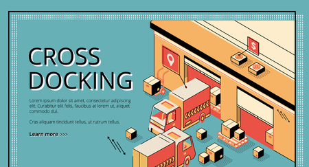 Cross docking logistics. Trucks receiving and shipping goods, warehousing process, cargo transportation. Isometric 3d vector illustration, line art, banner, landing page on retro colored background Illustration