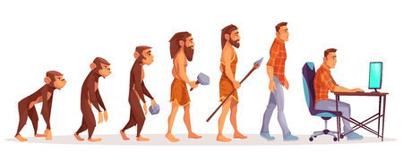 Human evolution of monkey to modern man programmer, computer user isolated on white background. Male character evolve steps from ape to upright homo sapiens, Darwin theory. Cartoon vector illustration 向量圖像
