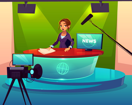 Anchorwoman in television chanel studio cartoon vector. Female presenter sitting at desk during broadcast, presenting breaking news, leading live show in front of camera with teleprompter illustration