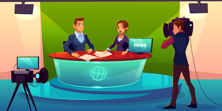 Newscasters team live broadcast cartoon vector. Journalist and TV show guest, invited expert sitting at desk in television channel studio during interview record, breaking news presenting illustration