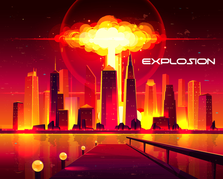 Nuclear explosion in metropolis cartoon vector concept. Fiery mushroom cloud of atomic bomb detonation raising under skyscrapers buildings illustration. Destroying city with mass destruction weapon Illustration