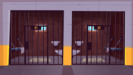 Prison corridor with two empty single cells behind steel bars cartoon vector. Jail facility interior with bunk bed, toilet bowl, washbasin and cell number on doors illustration. Imprisonment place