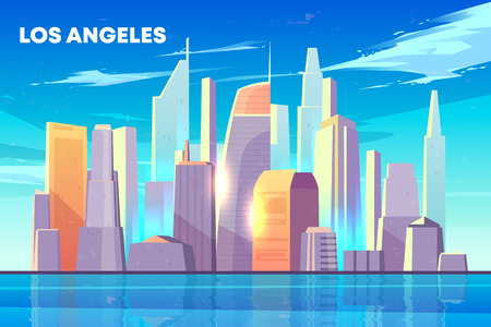 Los Angeles city skyline with illuminated by sun skyscrapers buildings on seashore, houses reflections in bay water cartoon vector background. Modern metropolis downtown architecture illustration Vector Illustratie