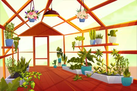Greenhouse interior with garden inside. Large bright empty orangery with glass walls, windows and wooden floor, place for growing green plants and flowers, inner view. Cartoon vector illustration