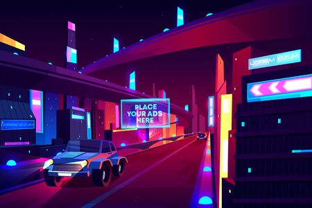 Night city road with moving cars banner, speed two-lane highway, overpass or bridge in metropolis. Transport network infrastructure with urban skyscrapers in neon colors. Cartoon vector illustration Illusztráció