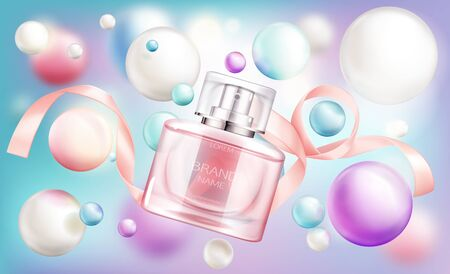 Perfume bottle. Glass sprayer flask with pink liquid and silk ribbon on rainbow background with pearly bubbles, package design mockup. Women fragrance cosmetic product Realistic 3d vector illustration
