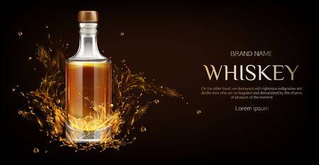 Makieta butelki whisky. Zamknięta szklana pusta kolba z mocnym napojem alkoholowym makieta stoi na ciemnym tle z płynnymi plamami i kroplami, baner reklamowy reklamowy, realistyczny 3d ilustracji wektorowych
