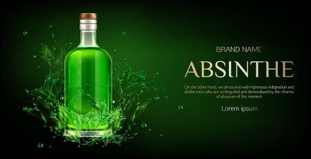Bottiglia di assenzio mock up banner, boccetta di vetro vuota con mockup di liquido verde, forte bevanda alcolica su sfondo scuro con schizzi e gocce di liquido, design pubblicitario. Illustrazione vettoriale 3d realistica