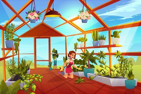 Vrouw in de kasverzorging van tuinplanten. Meisje met schop in oranjerie interieur met glazen wanden, ramen en houten vloer, plek voor het kweken van kruiden en bloemen, innerlijke weergave Cartoon vectorillustratie
