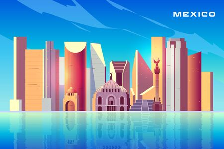 Mexico city skyline cartoon vector background with modern skyscrapers, historical buildings, architecture touristic attractions, important cultural landmarks reflecting in water surface illustration