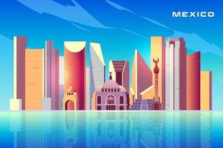 Mexiko-Stadt-Skyline-Cartoon-Vektorhintergrund mit modernen Wolkenkratzern, historischen Gebäuden, touristischen Attraktionen der Architektur, wichtigen kulturellen Sehenswürdigkeiten, die sich in der Wasseroberflächenillustration widerspiegeln Vektorgrafik