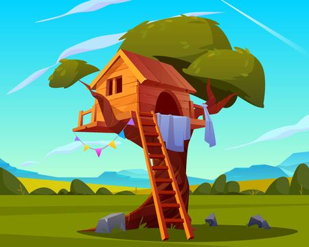 House on tree, empty children playground, creative handmade treehouse with wooden ladder for kids games in backyard garden on beautiful summer landscape background, camp. Cartoon vector illustration Illustration