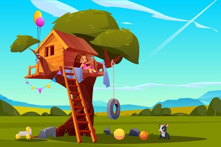 Child on tree house, little girl with dog playing on children playground, treehouse with wooden ladder and tire swing, place for kids games on summer landscape background, Cartoon vector illustration Illustration