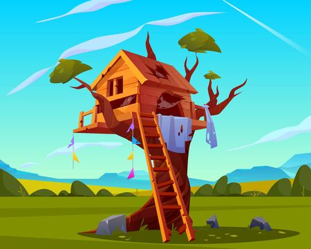 Abandoned house on tree, empty scary children playground, old treehouse with broken wooden ladder, holes with spiderweb on roof on beautiful summer landscape background. Cartoon vector illustration