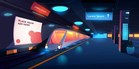Train in metro station at night time, empty subway platform with glowing lamps, map and ads banners, underground interior design. metropolitan, railroad, public railway. Cartoon vector illustration