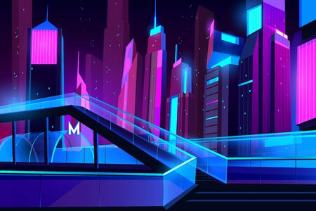 Metro entrance in night city with neon illumination, glass pedestrian overhead road. Futuristic cityscape view background. Modern town buildings exterior architecture. Cartoon vector illustration Illusztráció