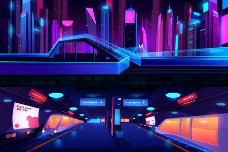 Vista de la sección transversal del suelo y del metro de la estación de metro con tren, interior de la plataforma del metro vacío, entrada metropolitana en la ciudad de la noche de neón, carretera aérea peatonal de vidrio Ilustración de vector de dibujos animados Ilustración de vector
