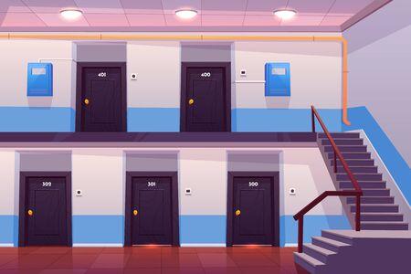 Intérieur de l'entrée de la maison, couloir ou couloir vide avec portes numérotées, escaliers, sol carrelé et boîtiers de compteurs électriques au mur, vue en coupe transversale, appartements en copropriété. Illustration vectorielle de dessin animé