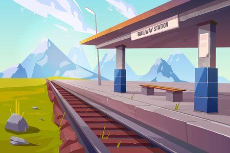 Estación de tren en las montañas, plataforma de ferrocarril vacía para el tren en la vista en perspectiva de la zona del campo de las tierras altas, fondo de paisaje de naturaleza hermosa, transporte público. Ilustración vectorial de dibujos animados