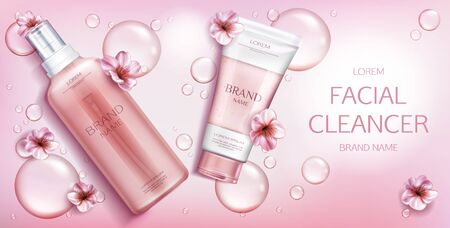Facial cleanser cosmetics bottles mockup banner, beauty cosmetic product on pink background with sakura flowers and water drops. Milk, gel, scrub tubes packaging. Realistic 3d vector illustration Иллюстрация