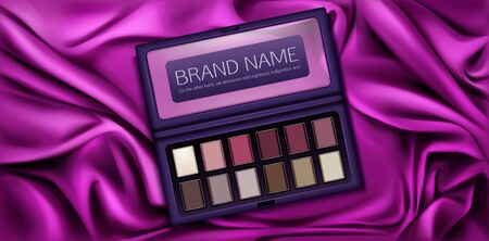 Eye shadow palette set for make up. Eyeshadow kit mockup case with paint samples in vinous, pink, brown, vanilla colors. Top view makeup box on silk draped background. Realistic 3d vector ad banner