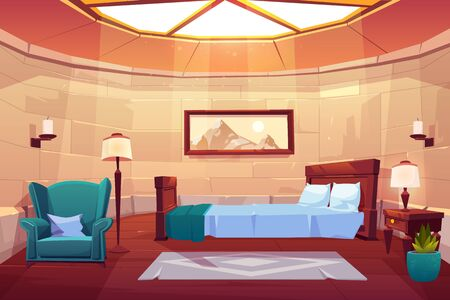 Bedroom in castle or palace. Empty sunny apartment interior with window on roof, double bed, carpet, elegant lamps, painting on stone bricks wall and plant in flowerpot Cartoon vector illustration