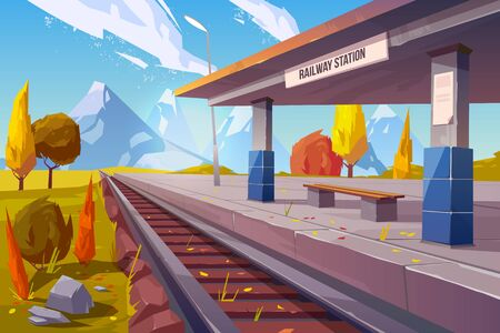 Railway station at mountains autumn landscape, empty railroad platform for train in highland countryside area perspective view, nature background, public transportation. Cartoon vector illustration
