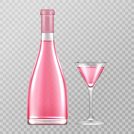 Pink champagne bottle and glass, rose bubbly wine isolated on transparent background, blank flask of alcohol drink, design element for beverage advertising. Realistic 3d vector illustration, clip art