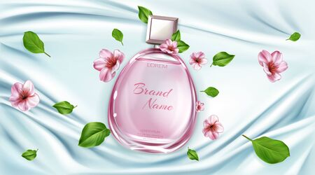 Perfume bottle with sakura flowers mock up background, cosmetic product fragrance in glass bottle on silk folded fabric backdrop, cherry blossom scent poster. Realistic 3d vector illustration, banner