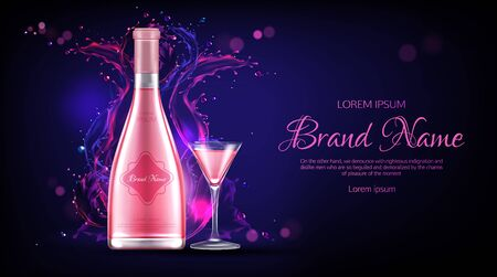 Rose wine bottle and glass mockup banner. Closed flask and wineglass with alcohol vine drink on dark blue background with pink liquid splash, ad promo template Realistic 3d vector illustration