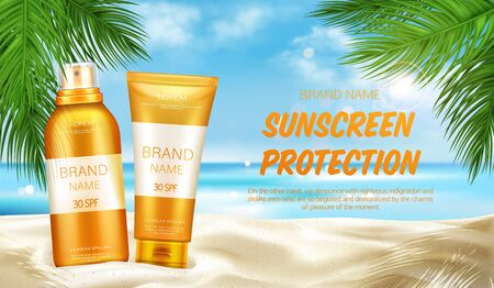 Sunscreen protection cosmetic, mock up banner, summer uv block sprayer and cream tubes stand on sand at seascape background with palm leaves, skin care solar lotion. Realistic 3d vector illustration