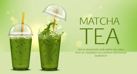 Matcha green tea with ice cubes and splash in takeaway plastic cup with cap and straw mock up banner, cold summer drink ads poster for cafe, healthy fresh beverage. Realistic 3d vector illustration Иллюстрация