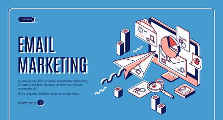 Email marketing landing page. Electronic mail messages automation business strategy, outbound newsletter campaign, spammer computer services. Isometric 3d vector illustration, web banner, line art