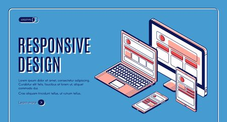 Responsive design web banner, tablet, laptop, computer, mobile desktop, application development and landing page construction for different devices. Isometric 3d vector illustration, banner, line art Illustration
