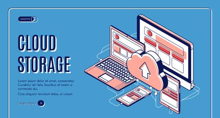 Cloud storage landing page on retro colored background, computer, laptop, tablet, smartphone connected with cloudy system server, internet service for smart gadgets Isometric 3d vector line art banner