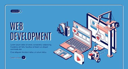 Web development, website construction landing page on retro colored background, building crane, forklift, robot put media icons on pc, laptop and smartphone screen. Isometric 3d vector line art banner Иллюстрация