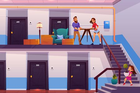 Relocation to new home cartoon vector concept. Happy family, young parents with daughter carrying furniture, plants flowerpots from rental apartments condo to new house, better dwelling illustration
