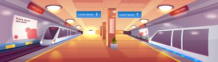 City rapid transit system, modern railway underground station cartoon vector interior with subway, high-speed passenger trains on rails, empty platform with lines map, advertising banners illustration Ilustração